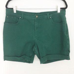 Pants - green boho cuffed high waisted mom shorts size 16
